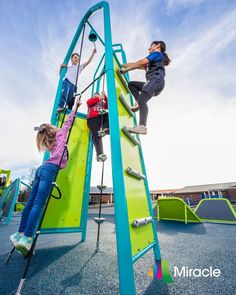 """This climber builds upperbody strength while providing a variety of thrilling paths to the top. It's also the perfect finishing event that gives kids a real sense of accomplishment when they ring the bell to complete the course. It can be a standalone event or linked for easy transfer to various deck heights (3' to 6'-6""""). Physical Development, Fun Challenges, Cool Things To Make, Playground, Trek, Competition, Champion, Climber, Paths"""