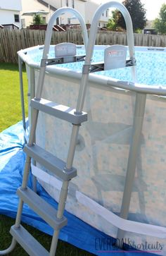 How to Set Up a Bestway Power Steel Frame Pool - Everyday Shortcuts Above Ground Pool, In Ground Pools, Pool Ladder, Pool Installation, Steel Frame, Swimming Pools, Backyard, Furniture, Outdoors