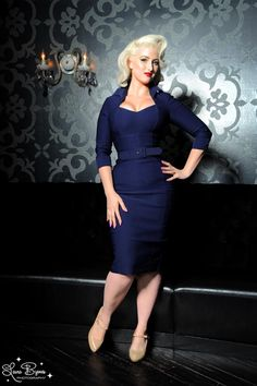 Pinup Couture Lorelei Dress in Navy Faux Bengaline