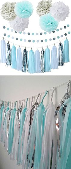 Baby Blue Baby Shower Party Paper Decorations | Baby Shower Decorations for Boys | Baby Shower Decorations on a Budget