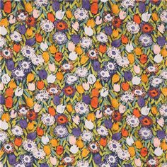 navy blue colorful tulip fabric Floral Daze by Dear Stella  4