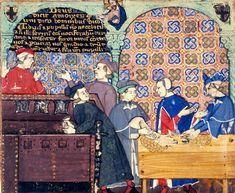 """""""L'avarizia. Scena ambientata nel Banco di San Giorgio di Genova"""", miniatura tratta dal 'Trattato sui sette vizi' (1330-1340 circa), British Library, Londra."""