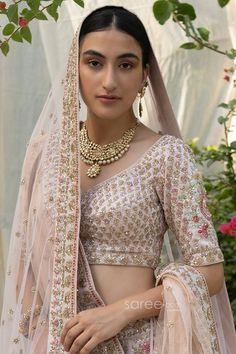 Buy Peach Raw Silk Heavy Bridal Lehenga Choli @ the best price from saree.com by asopalav Bridal Lehenga Choli, Peach, Sari, Indian, Crop Tops, Skirts, How To Wear, Women, Fashion