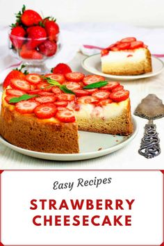 This Strawberry Cheesecake recipe is super easy to make and its a fail-proof dessert for a crowd! Smooth and creamy its topped with delicious strawberries and homemade strawberry sauce the perfect summer recipe treat! Strawberry Sauce, Strawberry Cheesecake, Strawberry Recipes, Vegan Cheesecake, Vegan Cake, Cheesecake Recipes, Top Recipes, Summer Recipes, Desserts For A Crowd