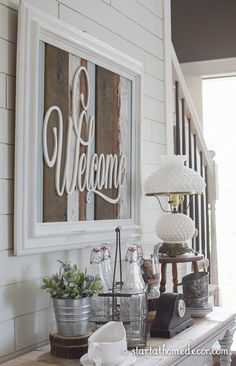 Reclaimed wood welcome sign by Start at Home Decor