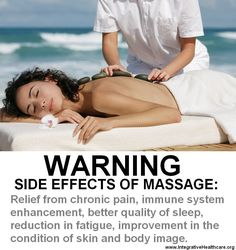 Warning: side effects of massage. Book your massage today at Pleasant Valley Massage Therapy. call 918-839-2085 or visit www.pleasantvalleymassage.com
