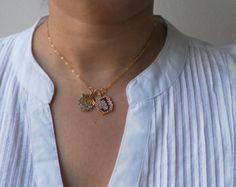 10% de descuento, madre e hija inicial colgante de collar de mujer personalizado, collar de iniciales de Goldfilled de 14 K
