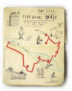 Oliver Jeffers' charming moleskine city map illustrations PARIS