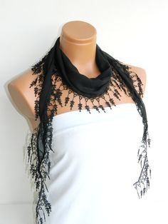 Personalized Design black Scarf Turkish Fabric by WomanStyleStore, $14.00