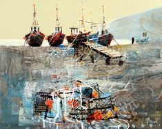 Mike Bernard RI: Boats on beer beach Landscape Art, Landscape Paintings, Oil Paintings, Landscapes, Mike Bernard, Places In Cornwall, Seaside Theme, Mixed Media Art, Collage Art