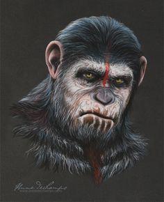 """César est chez lui"" King Kong Skull Island, Plant Of The Apes, Dawn Of The Planet, Gorilla Tattoo, Monkey Tattoos, Monkey Art, Sci Fi Characters, Pastel Art, Brad Pitt"
