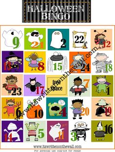 It's Written on the Wall: FREE Halloween Bingo Game. Fun Party Game