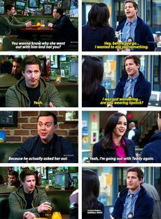 Jake and Amy, Brooklyn Nine Nine. Jake was gonna ask Amy out Awww! <3