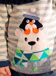 Eisbär und Pinguin sind besonders schön auf Kinderkleidung - Applikationsvorage via Makerist.de