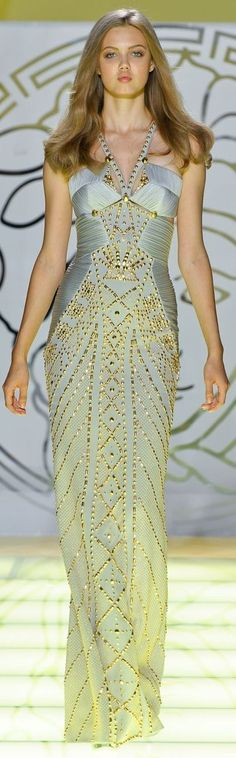 Modern Goddess -Versace blue and gold glamour gown - Lindsey Wixon Couture Fashion, Runway Fashion, High Fashion, Steampunk Fashion, Gothic Fashion, Dress Fashion, Beautiful Gowns, Beautiful Outfits, Gorgeous Dress
