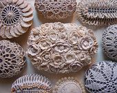 Reserved, Mixed Media Art, Original, Crochet Lace Stone, Handmade, Flowers, Wedding, Table Decorations, Beige.  Artist ~ Monicaj has a store on Etsy.  So many different one and each one is beautiful.