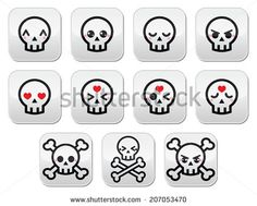 Kawaii cute Halloween skull buttons set by RedKoala