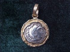 Greek Alexander The Great Silver Drachm Set in 14K GOLD, #2549 Ancient Coin Jewelry