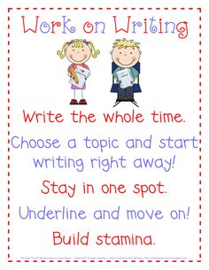 Work on Writing Anchor Chart