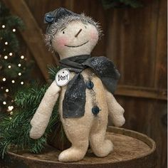Primitive Country` Snowman Riding Sheep`Figurine `wit Glittery Hat and Tree