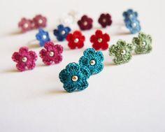 Dusky Blue Flower Ear Studs Crochet Lace Earrings Cotton | Etsy Bead Embroidery Tutorial, Crochet Flower Tutorial, Beaded Embroidery, Tiny Flowers, Lace Flowers, Crochet Flowers, Lace Earrings, Flower Earrings, Crochet Earrings