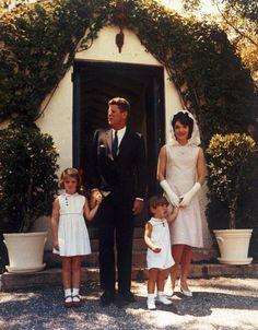 JFK, Jackie, Caroline and John Jr., at JFK's father Jospeh P Kennedy's estate in Palm Beach, FL on Easter, 1963.