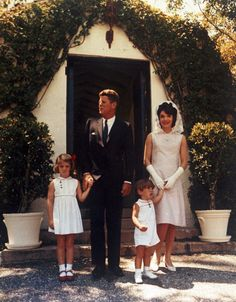 JFK, Jackie, Caroline and John Jr., at JFK's father Jospeh P Kennedy's estate in Palm Beach, FL on Easter, 1963.