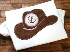 MONOGRAM COWBOY HAT DIGITAL MACHINE EMBROIDERY APPLIQUE DESIGN 4 SIZES    Great design for your western occasions! So quick and easy being 2