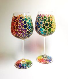 Two Multi Colored Bubbles Wine Glasses Hand Painted by ArtMasha Wine Bottle Crafts, Bottle Art, Colored Bubbles, Hand Painted Wine Glasses, Glass Design, Bunt, Glass Art, Creations, Bottles