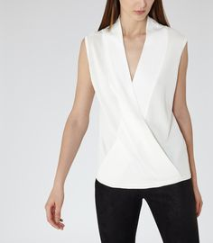 Womens Off White Wrap-front Knitted Top - Reiss Gianni