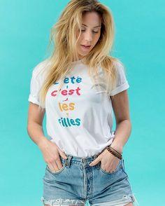 """Notre nouvelle collection """"L'été c'est les filles  est enfin DISPO ! Viens la checker sur notre site link dans la bio ! #letecestlesfilles #LDNP #summer #fashion #streetwear #tshirt #brand #new #paris #paris19 #shooting #model"""