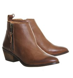 Buy Tan Leather Office Imposter Side Zip Ankle Boots from OFFICE.co.uk.