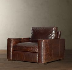 Charmant Restoration Hardware Maxwell Leather Chair In Chestnut (color Not Pictured)