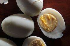 Basic Hard-Boiled Eggs: Letting eggs sit in water makes life SO MUCH EASIER. Hardboiled eggs in salads for days- huzzah!