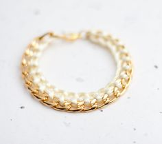 Hey, I found this really awesome Etsy listing at http://www.etsy.com/listing/121527874/gold-chain-braided-bracelet-buttercream