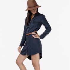Shirt dress NWT. Classic urban style shirt dress with cuff sleeves and detachable belt. 100% tencel Love Stitch Dresses