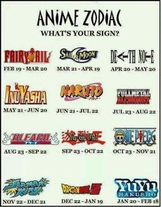 Anime Zodiac, What's Your Sign?, Anime universe, Fairy Tail, Sailor Moon, Death Note, Inuyasha, Naruto, Fullmetal Alchemist, Bleach, Yu-Gi-Oh!, One Piece, Shaman King, Dragonball Z, Yu Yu Hakusho, text; Zodiac Signs
