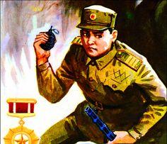 North Korean troop throwing a grenade, Korean War Cobra, Military Uniforms, Star Wars Clone Wars, Korean War, Rising Sun, North Korea, Chinese Art, Troops, Aircraft