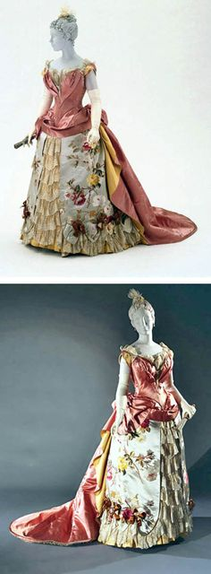 """Evening dress, Worth, ca. 1886-87. Two pieces, silk satin, faille, and brocade with lace and rhinestones. Philadelphia Museum of Art: """"The layering of texture, color, and pattern in this gown with its distinctive floral brocade, satin, faille, and lace pays homage to France's unrivaled textile industry. The designer's special relationship with the silk mills of Lyon allowed him to dictate the colors, patterns, and weaves that he required."""""""