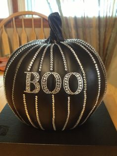 Pumpkin with some bling for Halloween! Awesome crafts by my mom @Beth Miller Curry