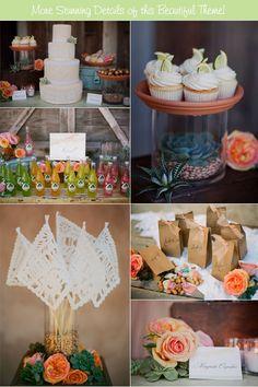 Cinco de Mayo wedding details - cake, cupcakes, drinks, paper flaglets, favors