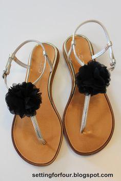 Hacer Flower Clips para chanclas y sandalias de Ajuste para Cuatro #tutorial #easy #clip #shoe