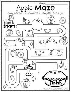 Apple Pie Maze Activity - Apple Worksheets Preschool