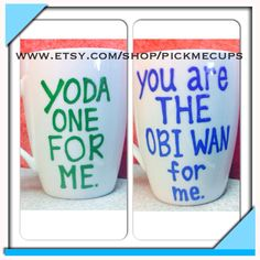 Starwars Fans Love Mugs  Yoda one for me  You are by PickMeCups, $18.00