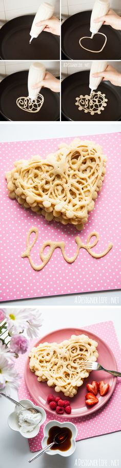 Lace heart squeeze bottle pancakes | Easy last minute Valentines Day recipe ideas