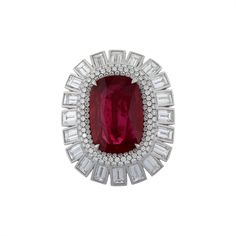 Vivid Ruby Diamond Ring | From a unique collection of vintage fashion rings at https://www.1stdibs.com/jewelry/rings/fashion-rings/