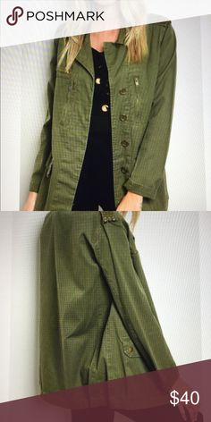 """Military Green Utility Jacket Trending Utility jacket with studded detail. Hidden buttons zip and snap pockets. Material 100% Cotton  1 -Small  1-Med.  1-Lg. Measurements for S armpit to armpit 21"""" length 27"""" Jackets & Coats Utility Jackets"""