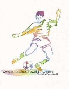 Soccer Print Soccer Team Gift Soccer Wall Art by BarbaraRosenzweig