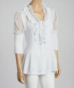 Look at this #zulilyfind! White & Silver Ruffle Puff-Sleeve Silk-Blend Top by Pretty Angel #zulilyfinds