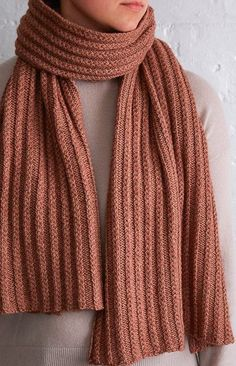 Free Knitting Pattern for 2 Row Repeat Braided Rib Wrap - This cozy scarf is knit with a 2 row cable ribbing stitch that you work right on the needles. Designed by Purl Soho